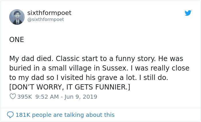 Twitter user @sixthformpoet decided to share the story of how he met his wife in a Twitter thread: