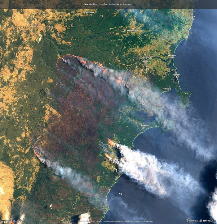 A satellite image of the Clyde Mountain Fire south of Sydney
