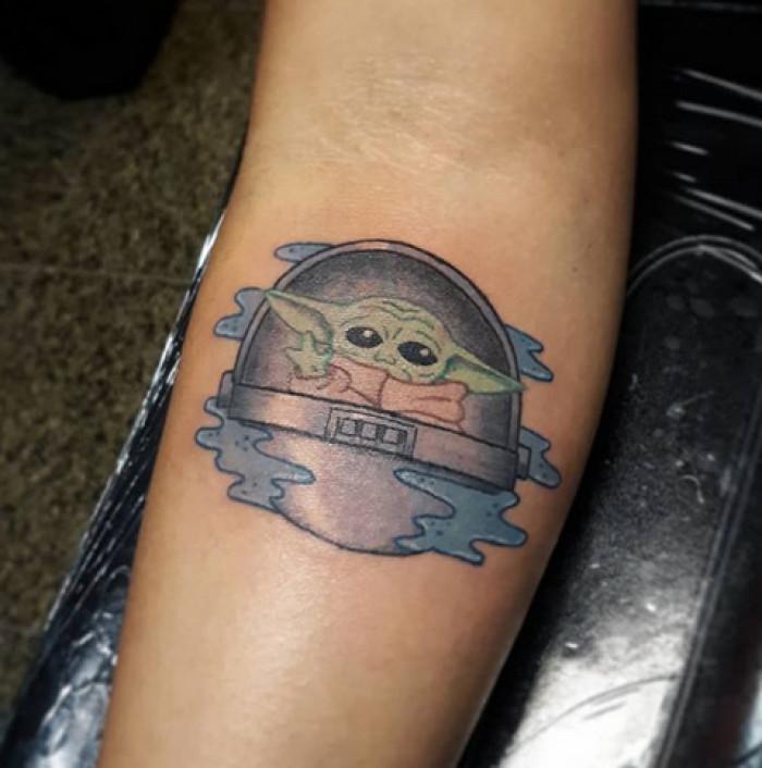 13. Don't be sad Baby Yoda tattoo!