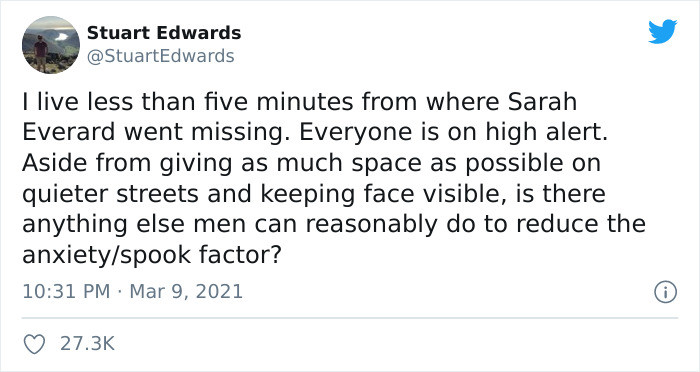 Stuart opened a very important debate about what men can do to make women feel safer on the streets