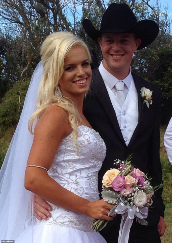 Patrick Salway, 29, (pictured with his pregnant wife Renee) lost his life while fighting the fires in Cobargo alongside his dad Robert Salway