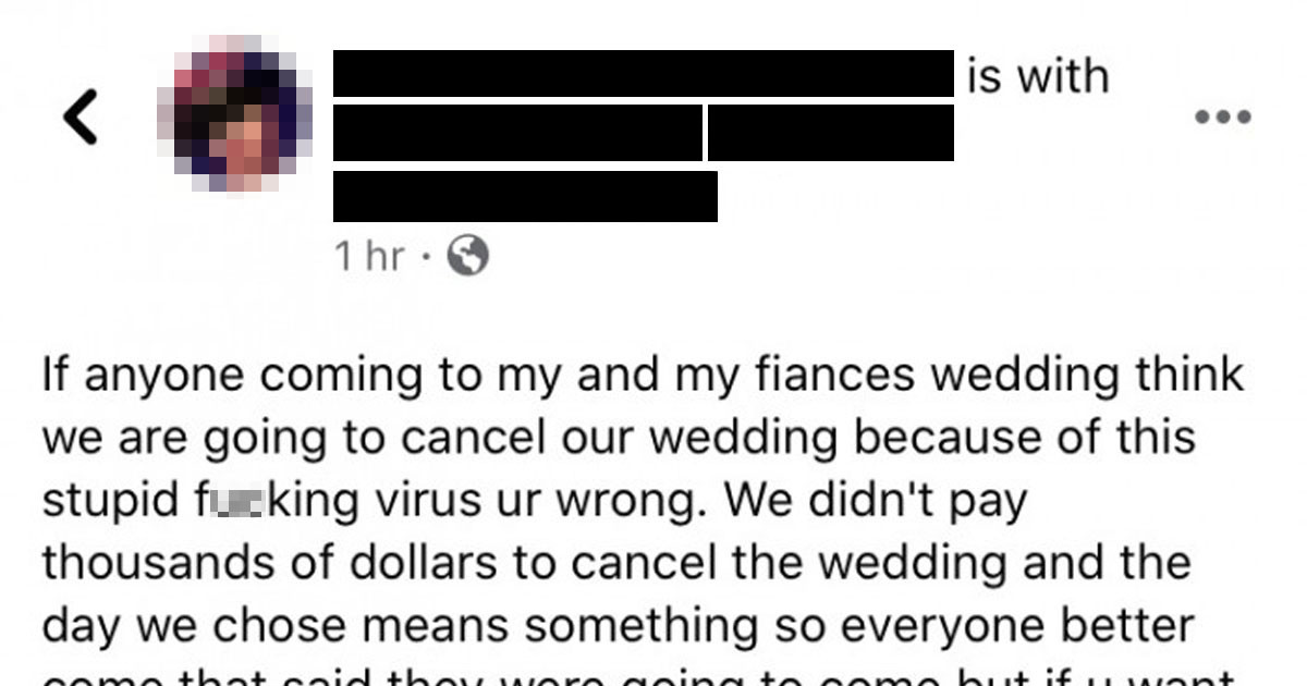 Bridezilla Sends Furious Message To Guests Who Are Thinking Of Skipping Her Wedding