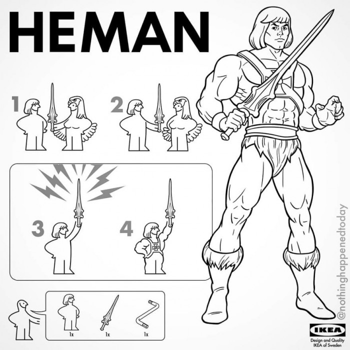 20. He-Man, swords up.