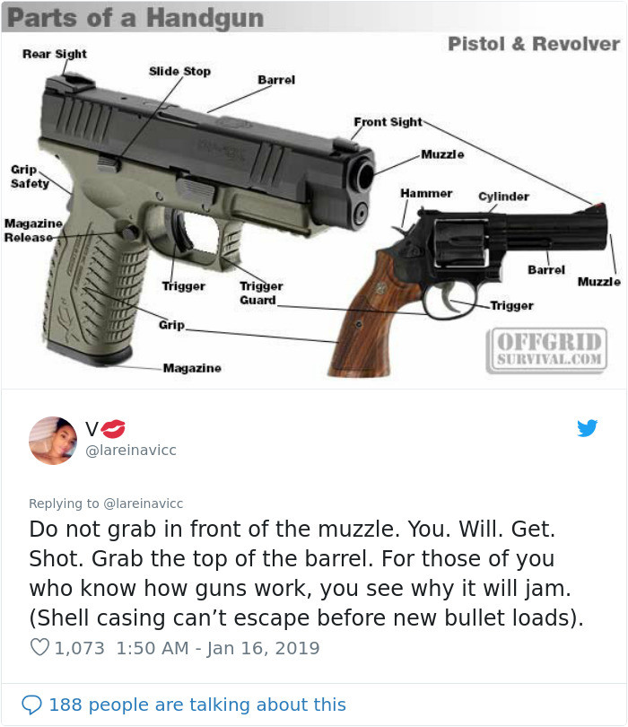 Also very important if you're not familiar with guns. Do NOT grab the front of the muzzle.