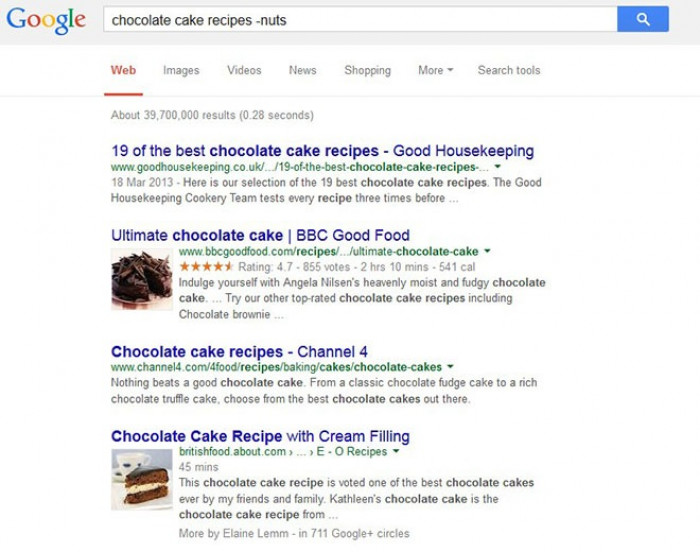 10. If you type a minus before a certain word, Google will exclude it from its search
