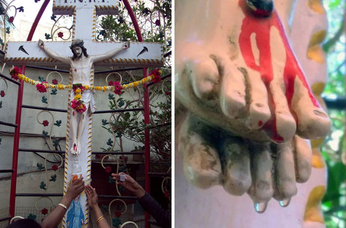 #38 A Statue Of Jesus In India Mysteriously Began Dripping Water From Its Toes. Worshippers Started Collecting It And Drinking It Believing It Was Holy. The Source Of The Water Was Later Found To Be Clogged Pipes