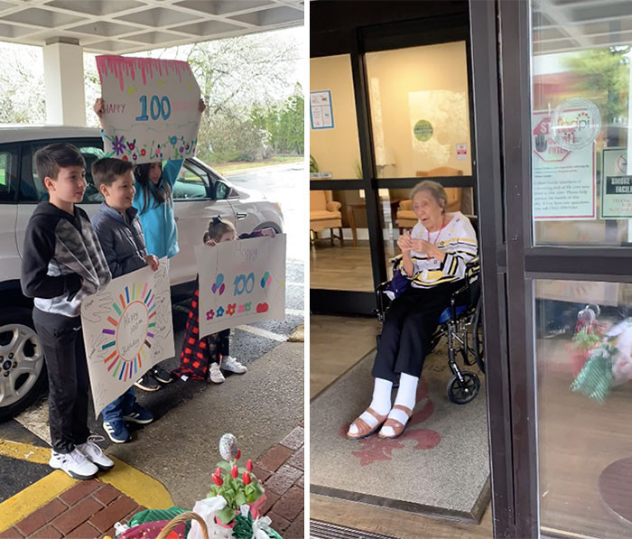 #10 Spending your 100yo birthday on lockdown? That's okay, they serenaded her from outside instead!