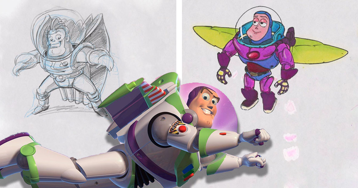 "Disney Release Unseen Sketches Of Buzz Lightyear From When He Was Nearly Called ""Lunar Larry"""