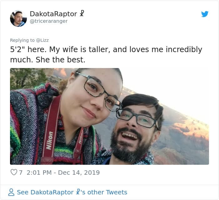 This guy replied saying he is 5'2 and his wife is much taller...