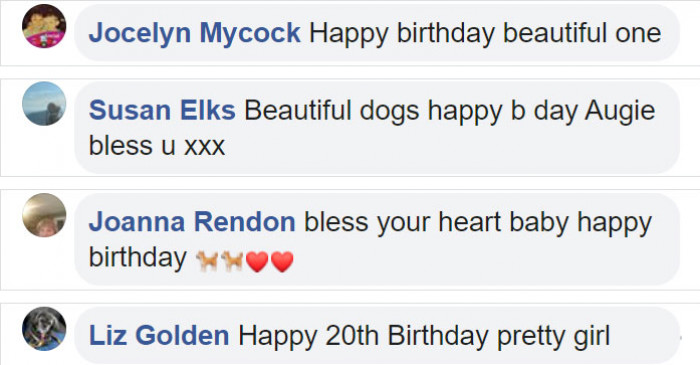 On Facebook, fans flocked to GoldHeart's page and post to offer birthday salutations to Auggie.