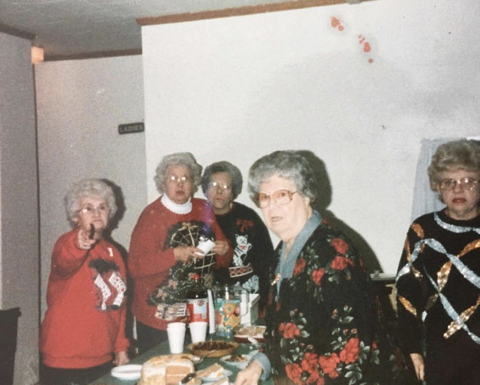 """5. """"This old picture of my great-grandmother, far left, makes it look like the cameraman just stumbled into a secret meeting of the grandmas."""""""