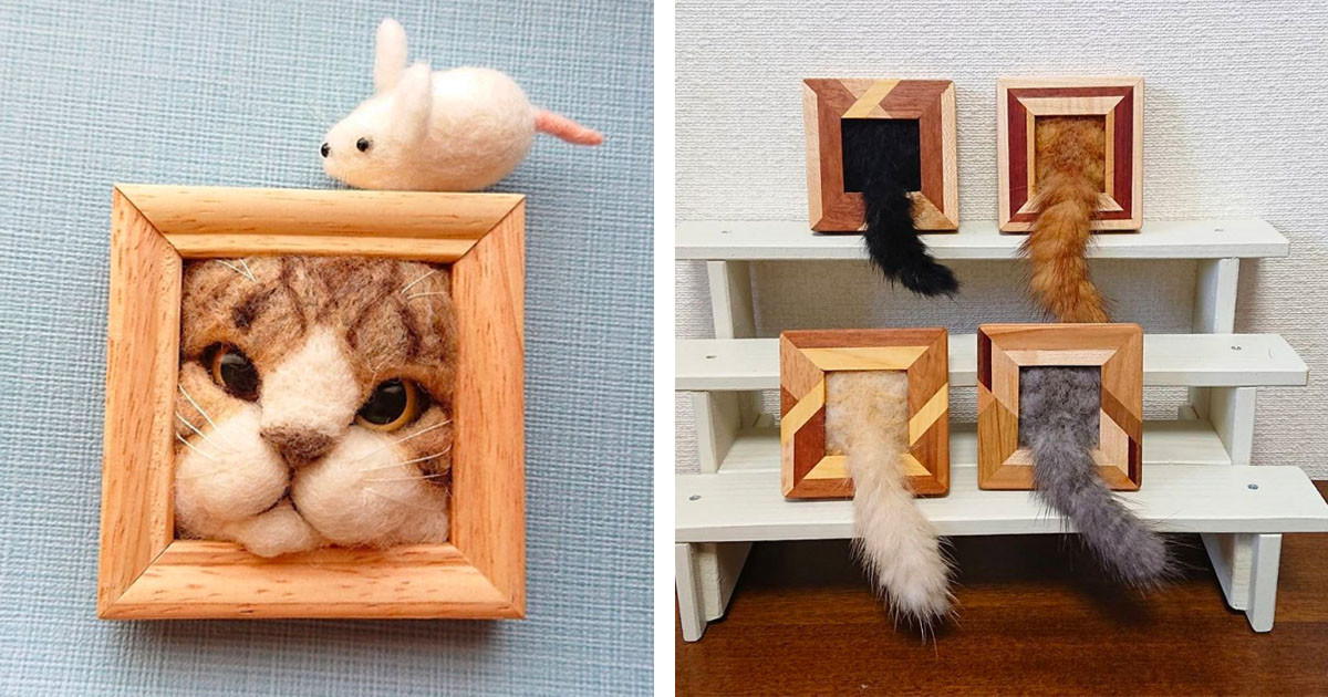 Japanese Artist's Expressive and Realistic Cat Picture Frames Are Way Too Adorable