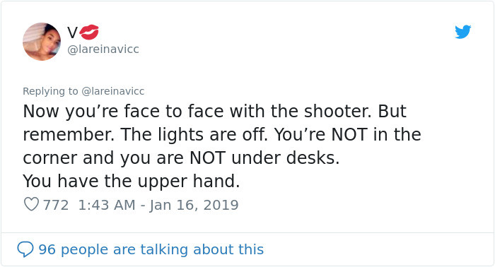 The two seconds it takes the shooter to realize you're not where you should be could be the two seconds that save your life.