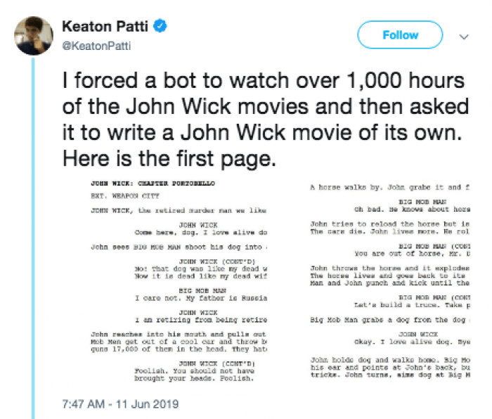 Comedian Uses Bot To Write John Wick Script And The Results Are