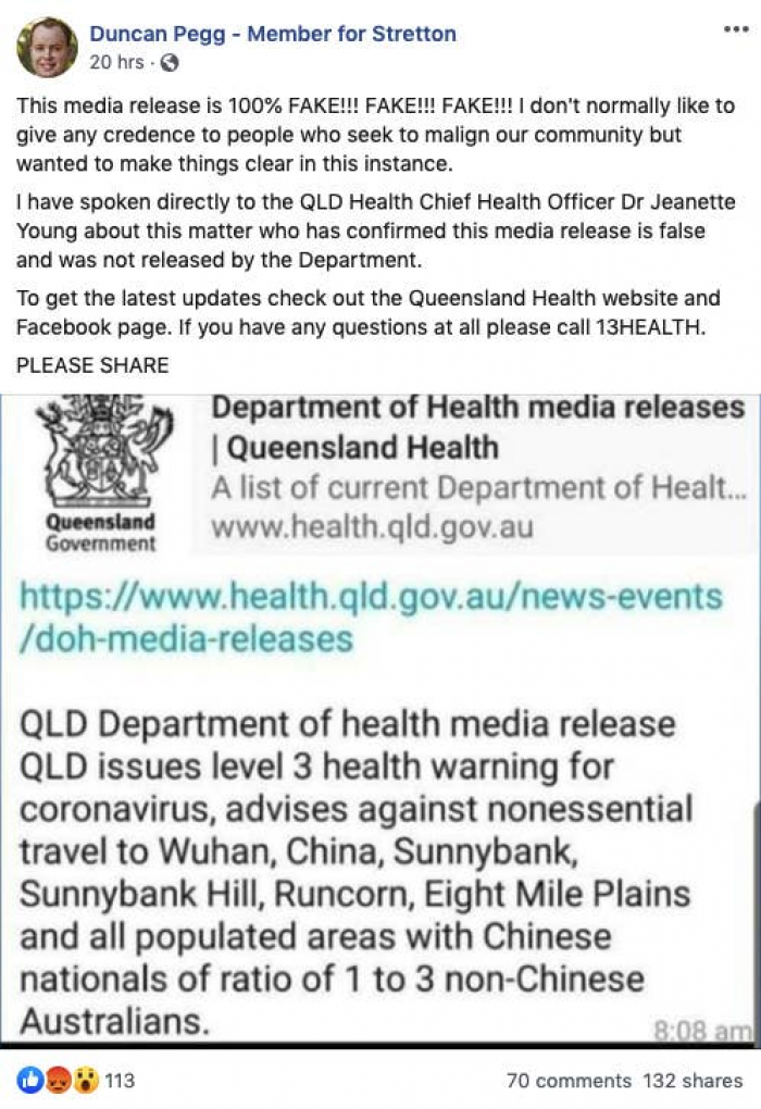 17. Fake news reports regarding the Coronavirus have even spread to Australia!
