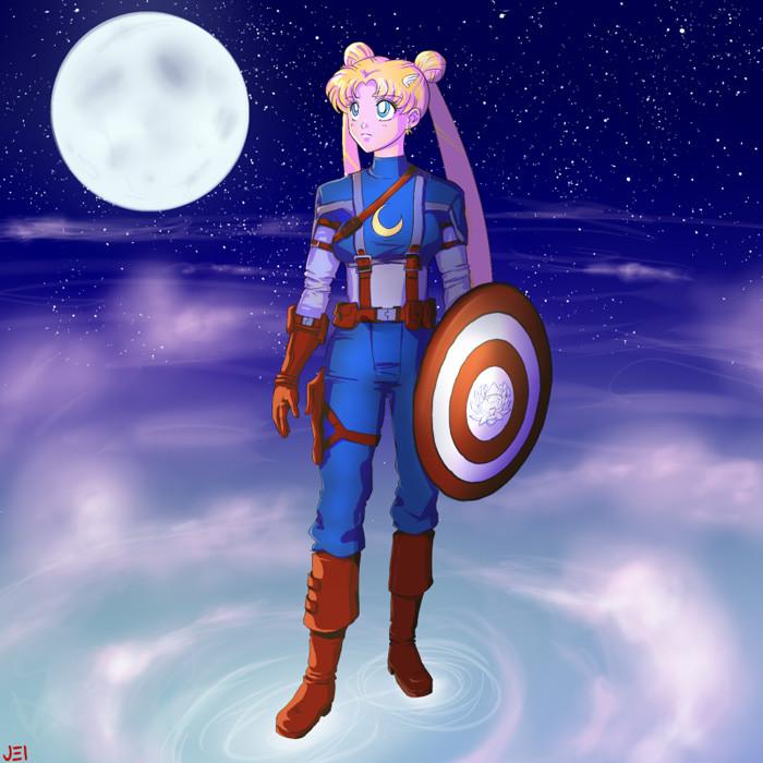 1. Sailor Moon as Captain America
