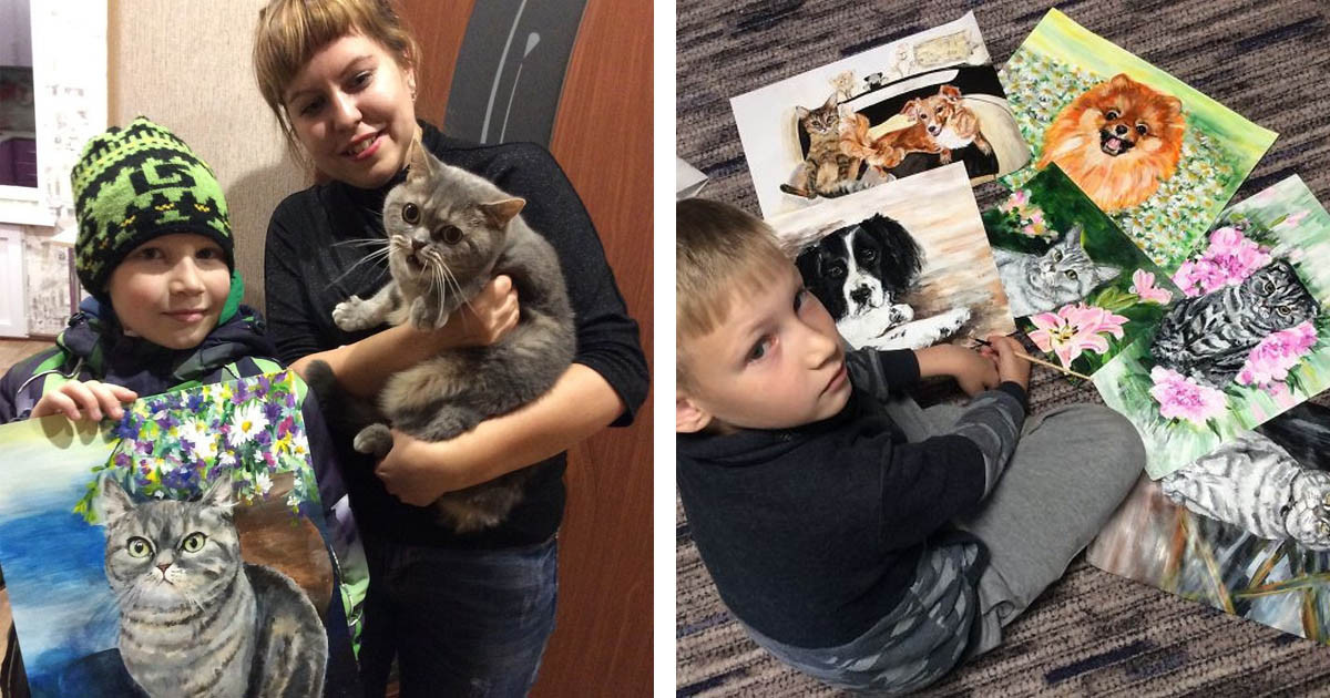 "9-Year-Old Child Is ""Selling"" His Incredible Portraits To Help Shelter Animals"