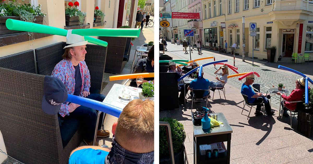 German Café Helps Their Customers Sit At A Distance By Giving Them Pool Noodle Hats