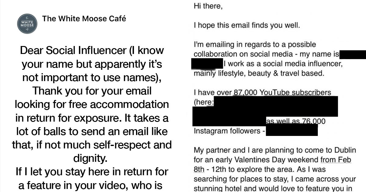 Social Media 'Influencer' Asks Hotel For Freebies In Exchange For 'Exposure' & Hotel Publicly Calls Them Out