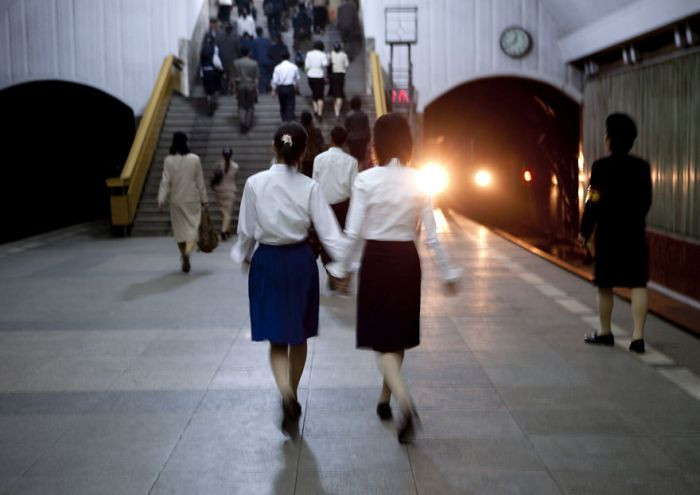 The subway system in Pyongyang is also a bomb shelter, making it the deepest system in the world. This photo was discouraged because it includes the subway tunnel.
