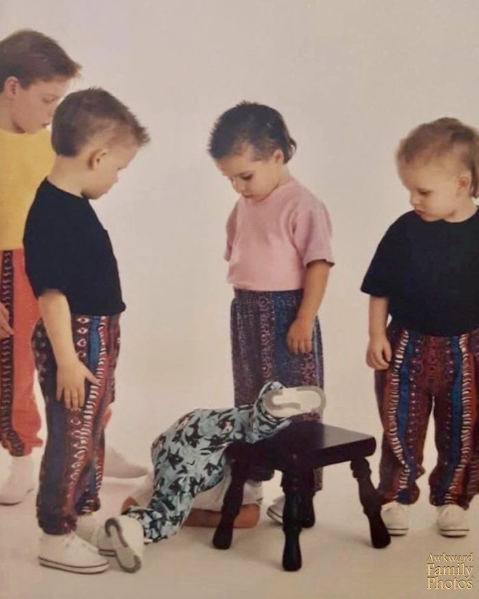 """4. """"During a cousins photo shoot, my brother fell off the stool mid-temper tantrum and the photographer managed to catch all of my cousins' reactions."""""""