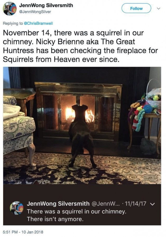 Nicky Brienne; Goddess of Fireplace Squirrels