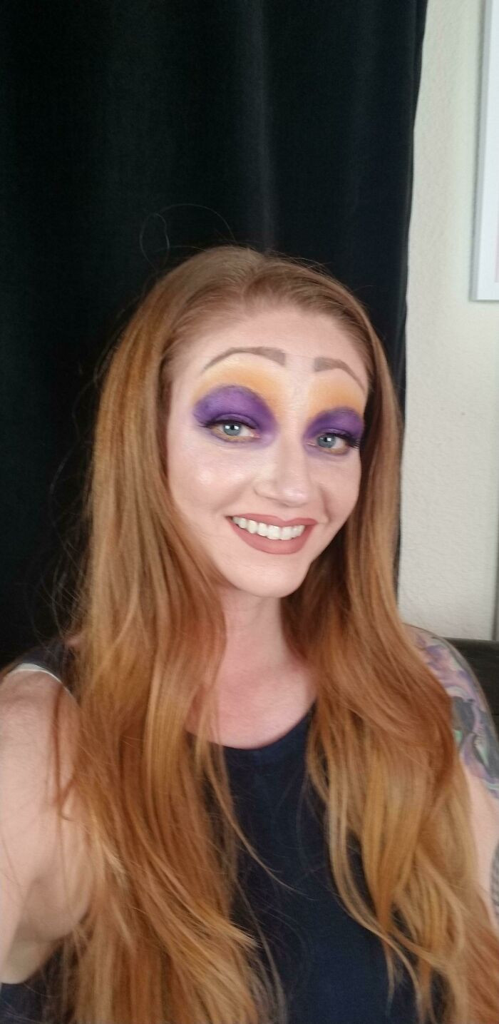 17. It's Actually Just Me... The Goal Was A Purple/Yellow Look. I Tried A Disney Villain And I'm Just Ashamed