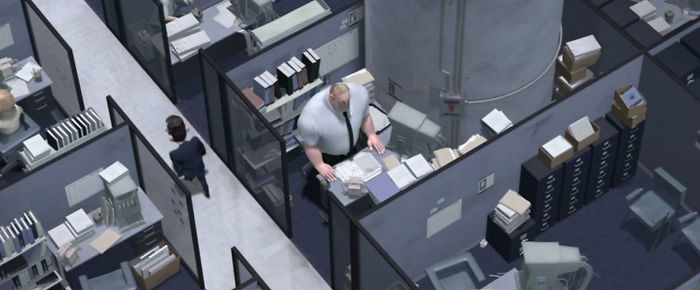 'Bob Par In The Incredibles (2004) Has Most Of His Cubical Taken Up By A Pillar Which Is Why It's So Cramped, I Can't Believe I Never Noticed This Before.'