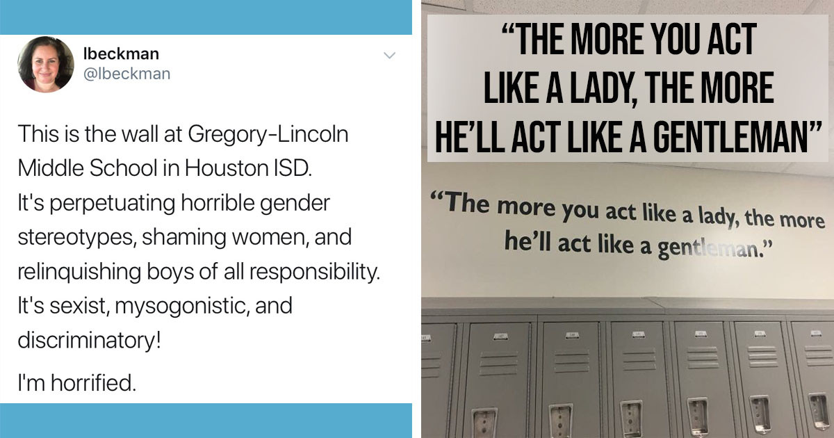 A 'Misogynistic' Quote Above A Middle School's Lockers Has Gone Viral Online