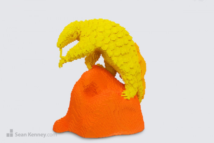 18. Bright yellow Chinese Pangolin, part of the 'Nature Pop!' exhibition