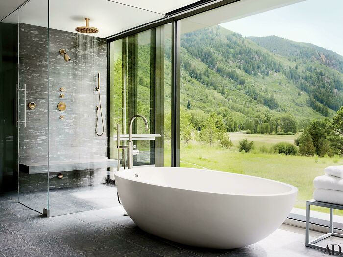 5. Large Shower And Bathtub With Mountain Views In Aspen, Co