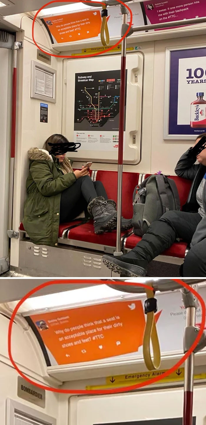 4. Wet snowy shoes on the seat... directly under a sign that says not to do that.