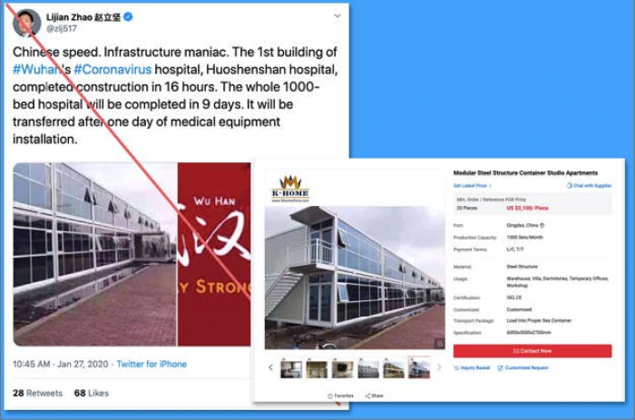 13. Building a hospital in 16 hours would be impressive... if it were true. Alas, it's #fakenews.