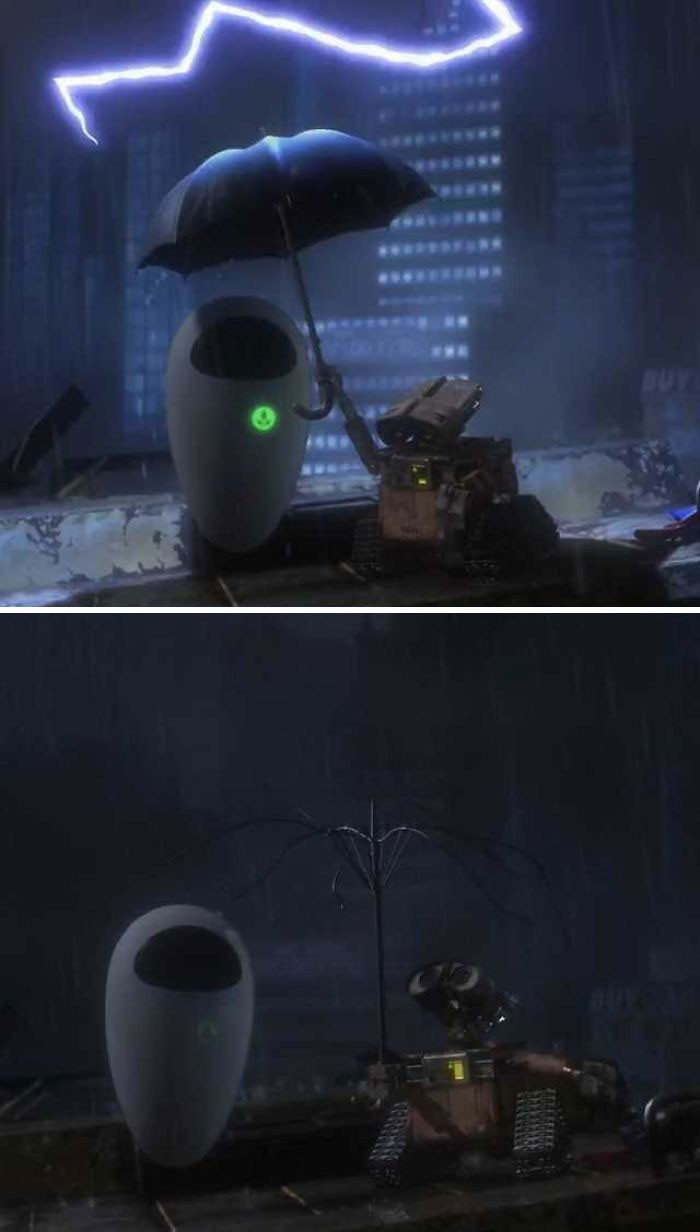 'If You Look Closely After The Lightning Strikes The Umbrella Wall-E Is Holding The Electricity From The Bolt Charges His Battery Back To Full.'