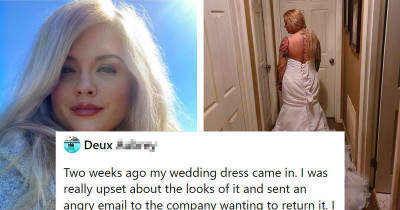 Woman Complains Wedding Dress 'Looks Nothing Like Photo' Only To Be Told She Is Wearing It Inside Out