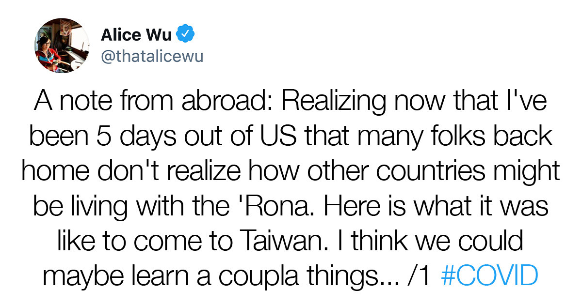 Woman Explains The Steps That Taiwan Took To Bring The COVID-19 Case Count To Zero, And Her Post Went Viral In No Time