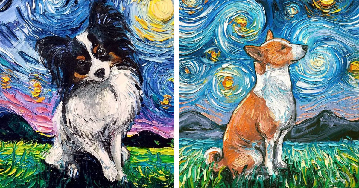 Van Gogh Inspired Artist Creates Incredible Starry Night Series Featuring Dogs
