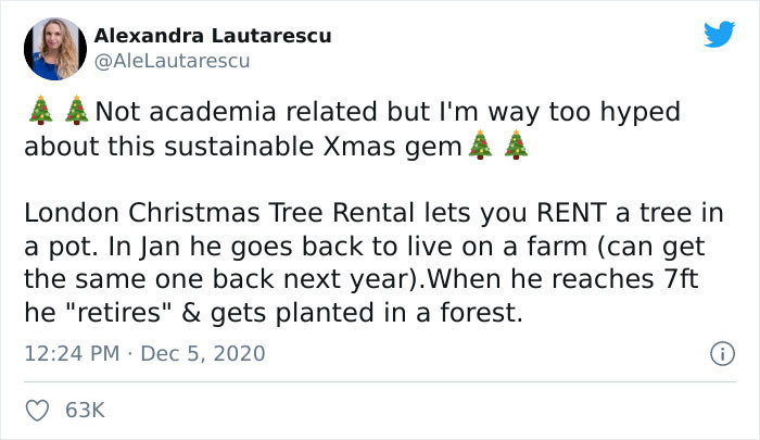 Twitter user A. Lautarescu recently posted a photo of a tree she rented from the London Christmas Tree Rental