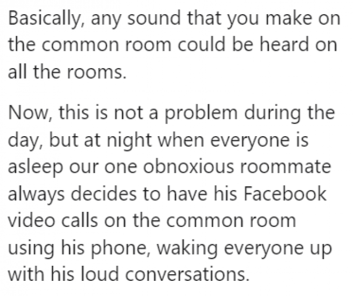 Loud Facebook calls were waking the roommates up