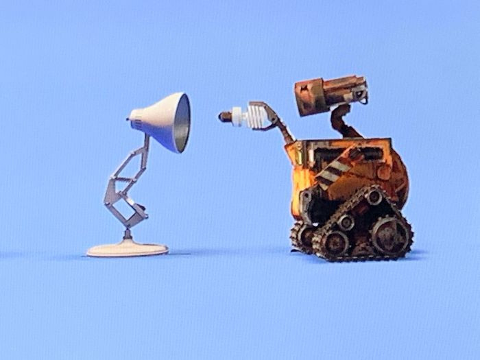 """'In The Pixar Logo After The Credits Of Wall-E, Wall-E Replaces Luxo Jr.'s Lightbulb With An Environmental Friendly Bulb After His """"Round"""" Bulb Goes Out.'"""
