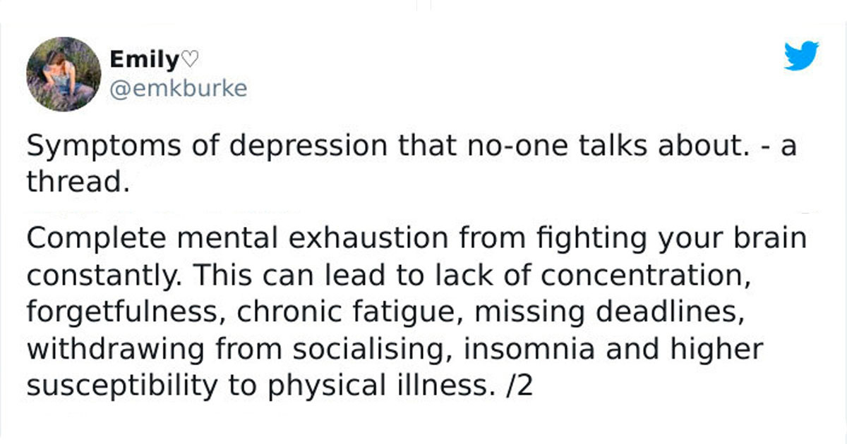 Twitter User Shares 13 Lesser-Known Symptoms Of Depression