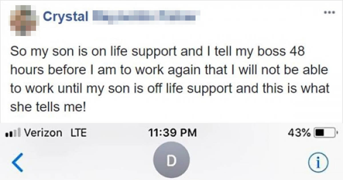 Manager's Response To Mother Taking Time Off For Her Son's Wellbeing Infuriates The Internet