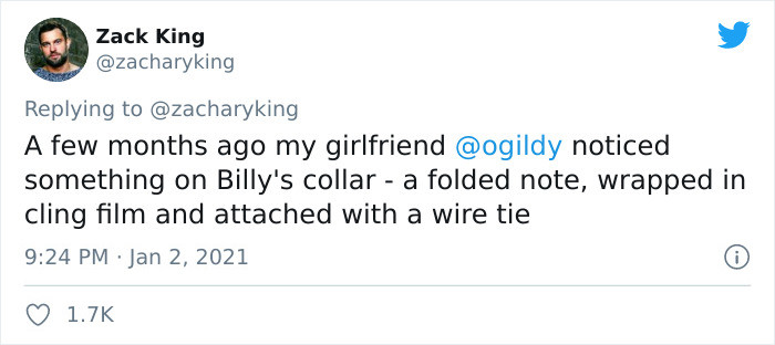 It all began with one little note attached to Billy's collar.