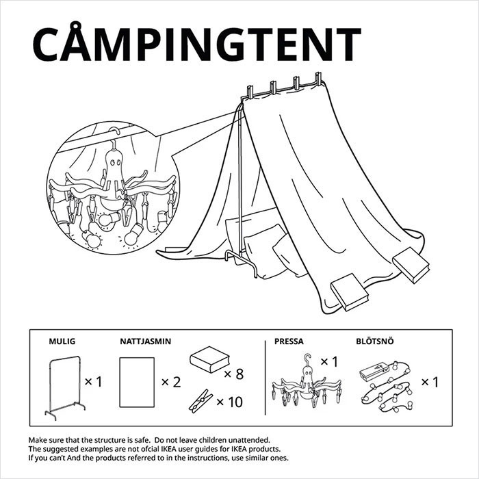 5. Hope there's a lake nearby, the Campingtent.