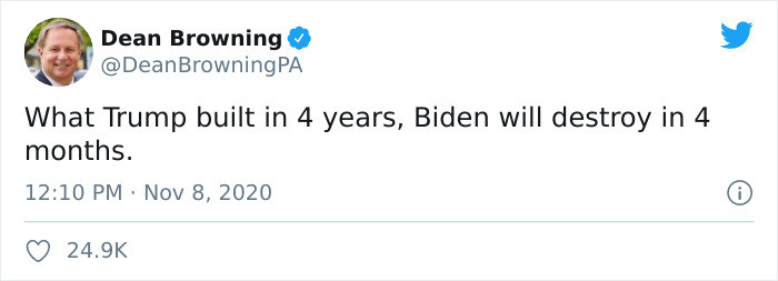 Here's a typical tweet by Dean Browning...