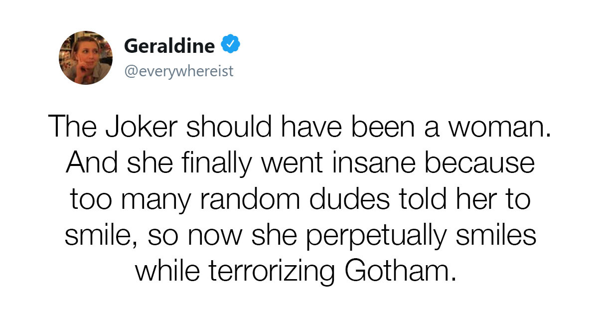 Men On Twitter Collectively Lose Their Minds When Woman Suggests A Female Joker Would Make For A Great Story