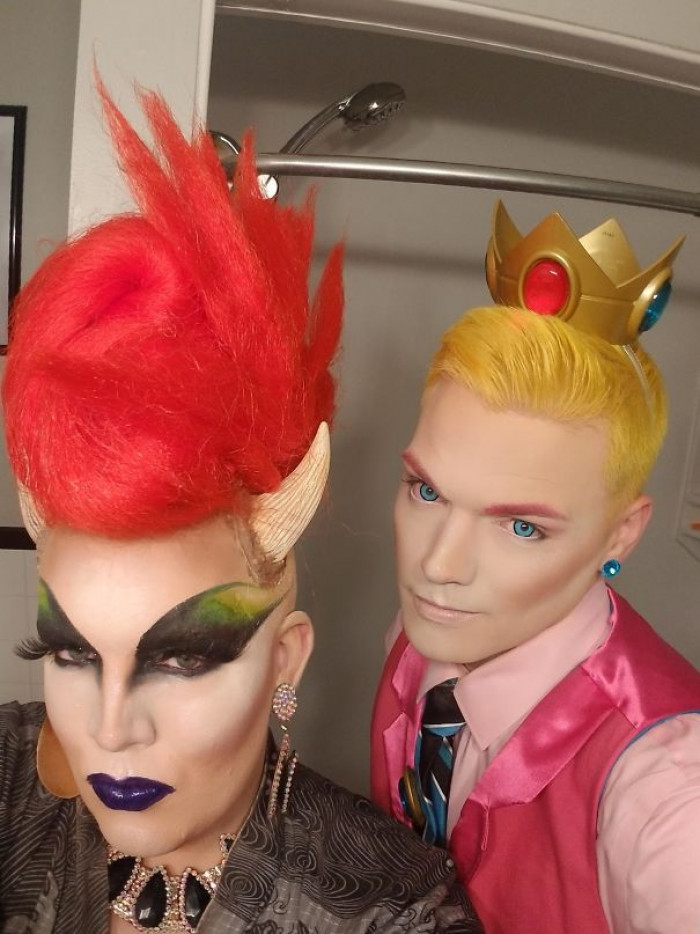 #29 My Husband And I Decided To Mix Up The Usual Mario Costumes! Introducing Drag Queen Bowser And Prince Peach