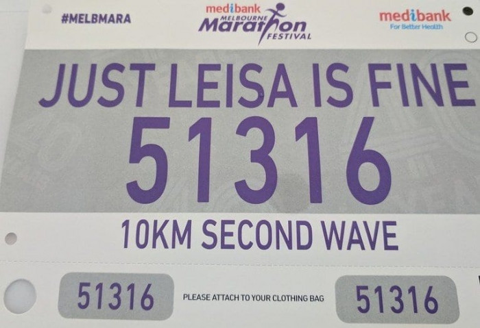 This husband asked to fill out the name information for his wife's marathon...
