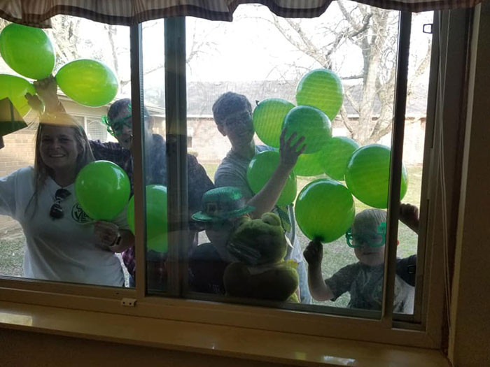 #22 A great Grandma turned 93 on St. Patty's Day, so they showed up with as much green as possible.