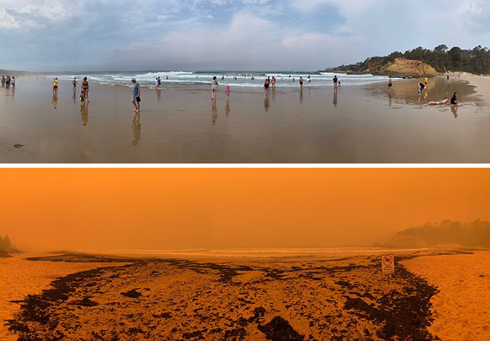 #2 Tathra Beach, Nsw In Australia. Photos are made before and after the ash and smoke arrived.